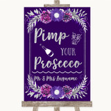 Purple & Silver Pimp Your Prosecco Customised Wedding Sign