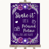 Purple & Silver Polaroid Picture Customised Wedding Sign