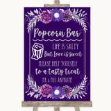 Purple & Silver Popcorn Bar Customised Wedding Sign