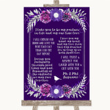 Purple & Silver Romantic Vows Customised Wedding Sign