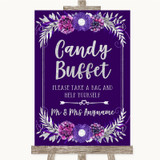 Purple & Silver Candy Buffet Customised Wedding Sign