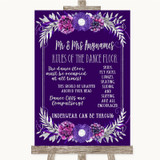 Purple & Silver Rules Of The Dance Floor Customised Wedding Sign