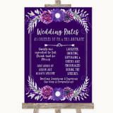 Purple & Silver Rules Of The Wedding Customised Wedding Sign