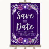 Purple & Silver Save The Date Customised Wedding Sign