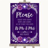 Purple & Silver Share Your Wishes Customised Wedding Sign