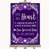 Purple & Silver Sign a Heart Customised Wedding Sign