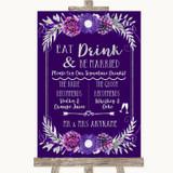 Purple & Silver Signature Favourite Drinks Customised Wedding Sign