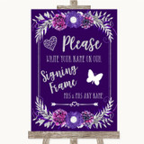 Purple & Silver Signing Frame Guestbook Customised Wedding Sign