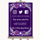 Purple & Silver Social Media Hashtag Photos Customised Wedding Sign