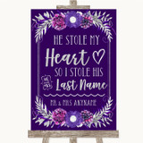 Purple & Silver Stole Last Name Customised Wedding Sign