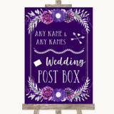 Purple & Silver Card Post Box Customised Wedding Sign