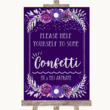 Purple & Silver Take Some Confetti Customised Wedding Sign