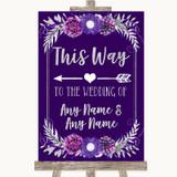 Purple & Silver This Way Arrow Left Customised Wedding Sign