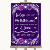 Purple & Silver Today I Marry My Best Friend Customised Wedding Sign