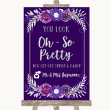 Purple & Silver Toilet Get Out & Dance Customised Wedding Sign