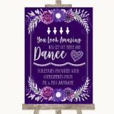 Purple & Silver Toiletries Comfort Basket Customised Wedding Sign