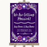Purple & Silver We Are Getting Married Customised Wedding Sign