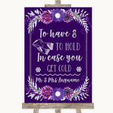 Purple & Silver Wedding Blanket Scarf Customised Wedding Sign
