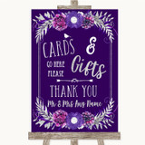 Purple & Silver Cards & Gifts Table Customised Wedding Sign