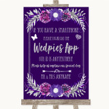 Purple & Silver Wedpics App Photos Customised Wedding Sign