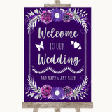 Purple & Silver Welcome To Our Wedding Customised Wedding Sign