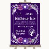 Purple & Silver Wishing Tree Customised Wedding Sign