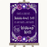 Purple & Silver Wishing Well Message Customised Wedding Sign