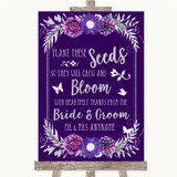 Purple & Silver Plant Seeds Favours Customised Wedding Sign