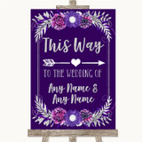 Purple & Silver This Way Arrow Right Customised Wedding Sign