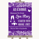 Purple Burlap & Lace Alcohol Bar Love Story Customised Wedding Sign