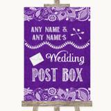 Purple Burlap & Lace Card Post Box Customised Wedding Sign