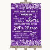 Purple Burlap & Lace Cheese Board Song Customised Wedding Sign
