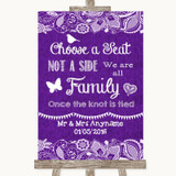 Purple Burlap & Lace Choose A Seat We Are All Family Customised Wedding Sign