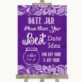Purple Burlap & Lace Date Jar Guestbook Customised Wedding Sign