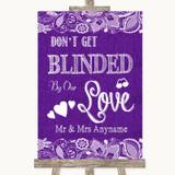 Purple Burlap & Lace Don't Be Blinded Sunglasses Customised Wedding Sign