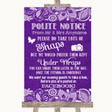 Purple Burlap & Lace Don't Post Photos Facebook Customised Wedding Sign
