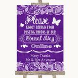 Purple Burlap & Lace Don't Post Photos Online Social Media Wedding Sign