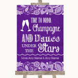 Purple Burlap & Lace Drink Champagne Dance Stars Customised Wedding Sign