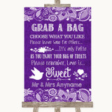 Purple Burlap & Lace Grab A Bag Candy Buffet Cart Sweets Wedding Sign