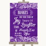 Purple Burlap & Lace Hankies And Tissues Customised Wedding Sign