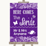 Purple Burlap & Lace Here Comes Bride Aisle Sign Customised Wedding Sign
