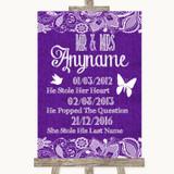 Purple Burlap & Lace Important Special Dates Customised Wedding Sign
