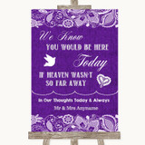 Purple Burlap & Lace Loved Ones In Heaven Customised Wedding Sign
