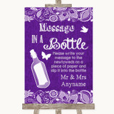 Purple Burlap & Lace Message In A Bottle Customised Wedding Sign