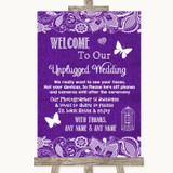 Purple Burlap & Lace No Phone Camera Unplugged Customised Wedding Sign
