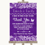 Purple Burlap & Lace Photo Guestbook Friends & Family Customised Wedding Sign