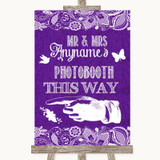 Purple Burlap & Lace Photobooth This Way Left Customised Wedding Sign