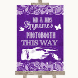 Purple Burlap & Lace Photobooth This Way Right Customised Wedding Sign