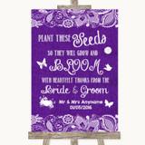 Purple Burlap & Lace Plant Seeds Favours Customised Wedding Sign