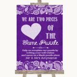 Purple Burlap & Lace Puzzle Piece Guest Book Customised Wedding Sign
